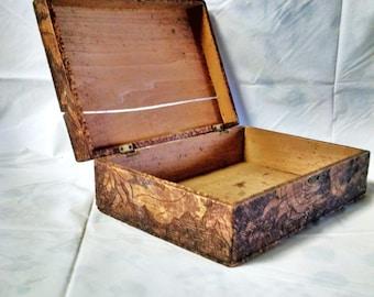 Antique 1907 American Folk Art Hand Carved Wooden Storage Box, Chest, trinket box, treasure keeper