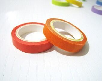 2 Washi Tape - Solid Orange and Pumpkin Orange - Set of 2 Japanese Masking Tape - 5 mt x 0.75 cm - Set of 2 Washi Tape