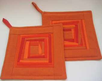 Quilted Pot Holders Quilted Potholder Quilted Fabric Hot Pads Orange Hot Pads Padded Potholders Patchwork Potholders Mother's Day  Set of 2