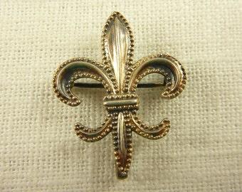 Antique Sterling Fleur De Lis Brooch with Fob Clip