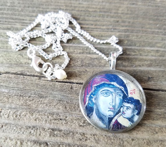 Blessed Mother with Jesus - upcycled metal and resin pendant with old watch parts