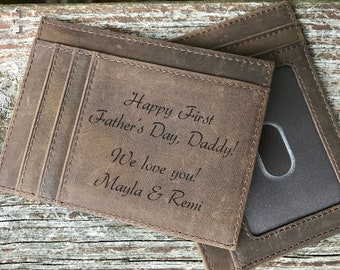 First Fathers day gift • Fathers day • Father's day gifts • Gifts for Dad • Leather wallets for men • Card wallet • Slim Wallet • rfid