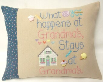 Grandma Accent Pillow Cross Stitch What Happens At Grandma's