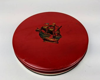 "Vintage  Round Red Tin Can Biscuits Container Ship Graphic 7.5"" across"