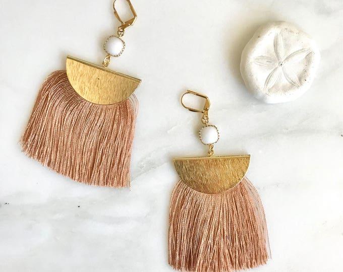 Copper Tassel Earrings.  Chandelier Earrings. Tassel Dangle Earrings.  Statement Earrings. Jewelry. Gold Tassel Earrings. Christmas Gift.