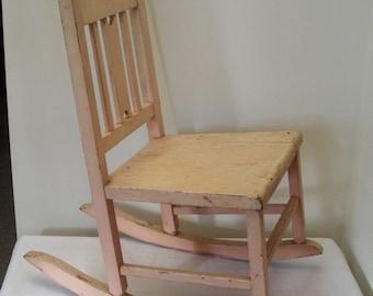 Vintage Primitive Pink Painted Childu0027s Rocking Chair