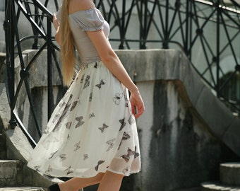 Very airy butterfly viscose and cream white midi skirt braidsmaids,formal,everyday