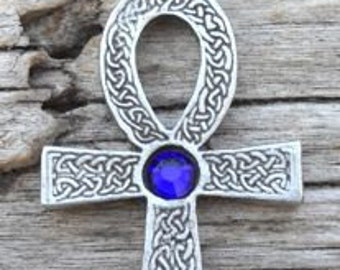 Pewter Ankh Egyptian Cross with Celtic Knots Pendant with Swarovski Crystal Sapphire Blue SEPTEMBER Birthstone (31G)