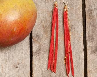 red sky at nght - long red deerskin tassel earrings wih gold chain