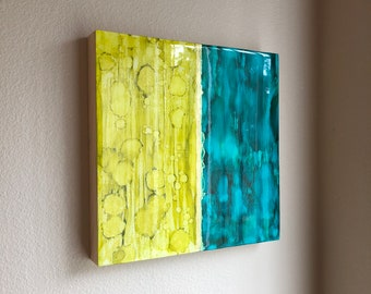 12x12 Inch Alcohol Ink Art on Wood Panel | Original Painting | Abstract Art