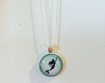 Little Mermaid Silhouette Cabochon Pendant Necklace Silver