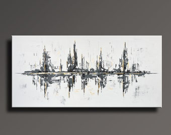 "75"" Large ORIGINAL ABSTRACT Black White Gray Gold Painting on Canvas Contemporary Abstract  Modern Art wall decor # WG0i35XL"