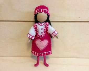 Rose - Miniature doll - Bendy doll - Faceless doll - Dollhouse doll - Pocket doll - Waldorf doll - Montessori toy