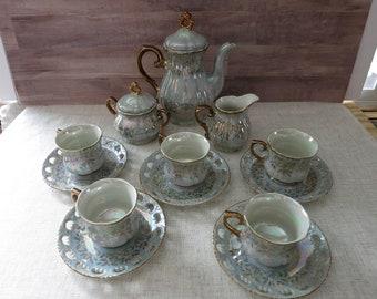 Kudo Toki fantaisie Chine service à thé Chine fantaisie irisées thé ensemble Vintage Kudo Toki quinze pièce Chine service à thé porcelaine Vintage Service à thé - V326