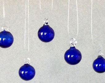 Set of Five Hand Blown Glass Mini Ornaments, Cobalt Blue, for Your Tabletop Tree