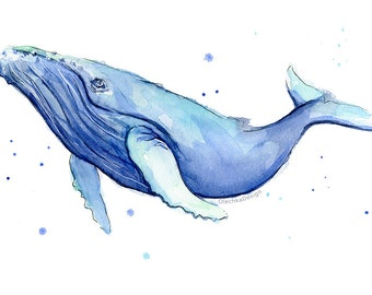 Humpback Whale Watercolor Print, Whale Art, Whale Painting, Blue Whale, Sea Creatures, Nursery Art Print, Whale Print, Whale Painting