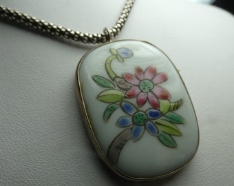 Chinese Pottery Shard Necklace in Sterling Silver, artisan, Sterling Chain lobster claw -nice! 2803