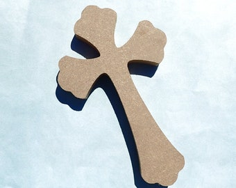 Gothic Cross Plaque -  8 inch Unfinished MDF