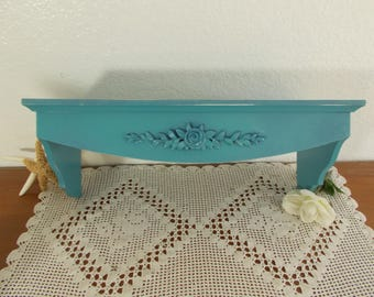 Turquoise Blue Shelf Floral Wall Hanging Decoration Beach Cottage Coastal Seaside Nautical California French Country Farmhouse Home Decor