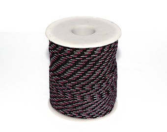 10, 20 or 50 m (m) 2.5 mm black, grey and pink Paracord (climbing rope / survival)-ref: 2853