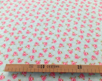 Great chic style blue rose printed cotton fabric