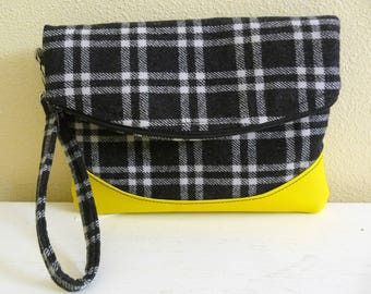 Plaid Foldover Clutch Wristlet Bag Black Grey Wool, Yellow Vinyl