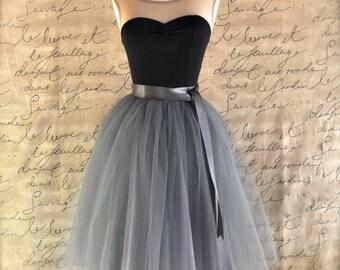 Tulle skirt for women in charcoal grey silver satin lining satin waist sash. Adult tutu skirt