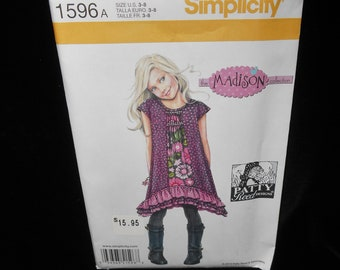 Childrens Dress Simplicity 1596 Girls 3-8 Patty Reed designs Madison Collection