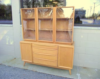 Heywood Wakefield China Cabinet Credenza Sideboard - Champagne Mid Century Modern - ALL ORIGINAL - Bubble Glass Doors - Buffet Storage Hutch