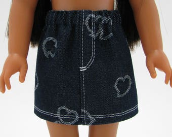 """Fits Like Wellie Wisher - 14"""" Doll Clothes - American Doll - 14 Inch Doll Clothes - Girl Denim Skirt - Doll Skirt - Heart Print"""