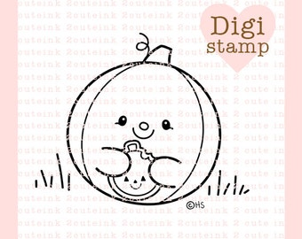 Pumpkin Cookie Digital Stamp - Halloween Pumpkin digital art for - Card Making - Paper Crafts - Scrapbooking - Stickers - Coloring Pages