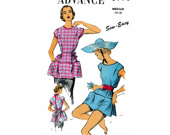 """50s Cobbler's Housework Apron and Outdoor Gardening Poncho, Medium Size Bust 32-34"""", Advance 5998 Vintage Sewing Pattern Reproduction"""