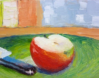 Small Still Life Oil Painting on Canvas Sliced Red Apple
