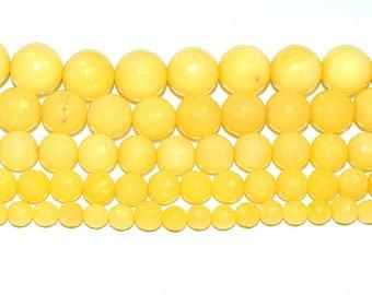 (JADE) semi-precious stone bead - round, faceted (6mm) - Buttercup (yellow) - PSPJARD615JAU494