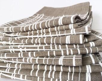 Crosshatch linen tea towel, white ink on flax linen screen printed by hand, tribal basketweave design