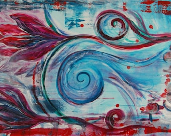 Turquoise fine art painting print, teal red painting, religious modern art, abstract art decor, cerise teal wall art, christian easter art