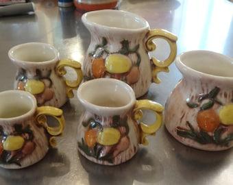 Arnel's mushroom measuring cups - ceramic set of five (5) - brown orange yellow green figural mushrooms and bark kitsch and quite cute!