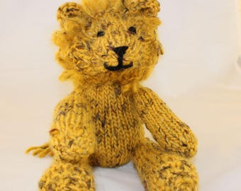 Knitting Pattern (UK) for Leonard Lion - a gorgeous knitted lion.  Worked in stocking stitch with a looped mane. Knit flat or in the round