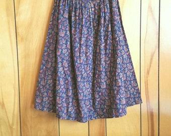 Vintage Handmade Paisley Print Folk Skirt//High Waist//Size Small