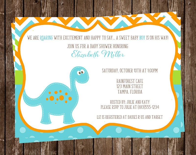 Dinosaur Baby Shower Invitation Chevron Stripes Blue