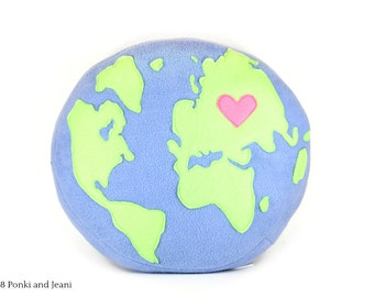 Mother Earth Plush Pillow - Earth Day Plushies - Earth Round Cushion - World Globe Soft Toy - Kawaii Planet Earth - Mother and Baby Earth