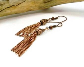 Copper Tassel Earrings, Copper Earrings, Dangle Earrings,
