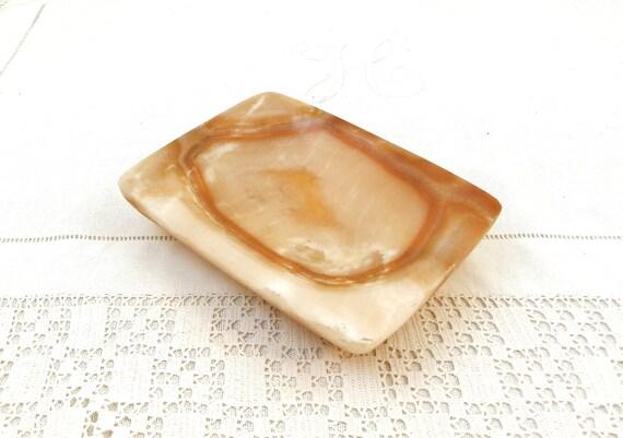 Large Rectangular 1970s Vintage Carved Pale Veined Marble Agate Stone Ashtray, Big Heavy Retro Stone Ash Tray, Smoking Tobacciana Accessory