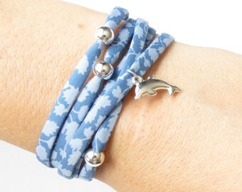 Silver dolphin bracelet with Liberty fabric in two tone blue and sterling silver beads, birthday gift for best friend, girls wrap bracelet