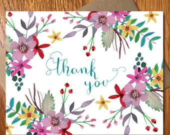 Thank You Note Card / Every Day Spirit / Handmade Thank You Card / Wedding Thank You Card / Floral Thank You Card / Typography Thank You