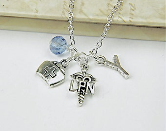 Personalized Nurse Necklace with Your Initial and Birthstone