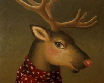 Reindeer Print, Christmas Reindeer Print, Reindeer Portrait, Retro Reindeer, Victorian Reindeer,