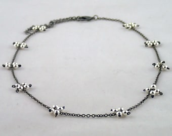 """Foursquare Necklace in Silver - 18"""" silver and chain necklace handmade to order in NYC."""