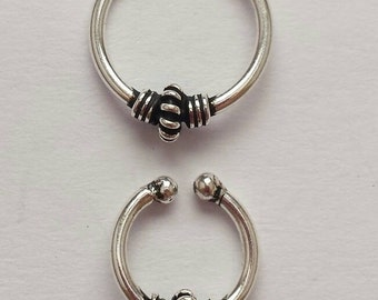 Sterling Silver Fake Cheater Non Pierced Septum Nose Tragus Ring - Tribal, Ethnic, Boho, Funky,  Steampunk - SM3 / SM4