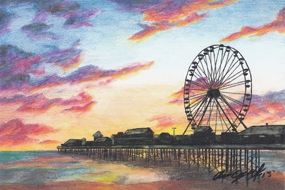 Art Print Ferris Wheel Print Original Art Print Sunset